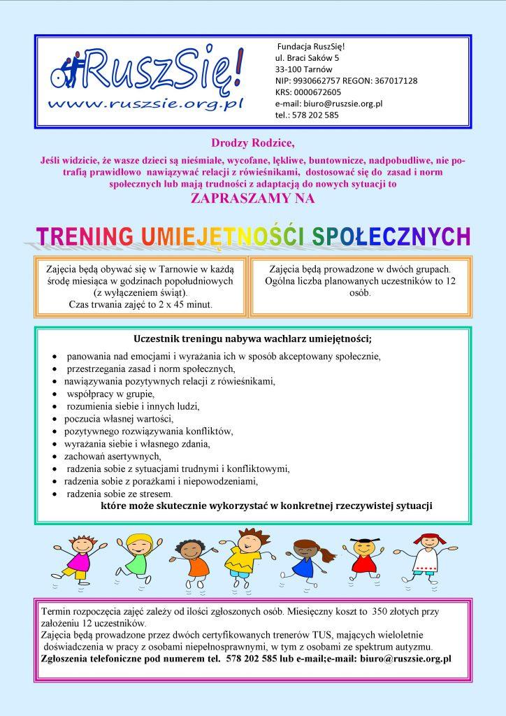 Ulotka z informacjami o Treningu Umiejętności Społecznych