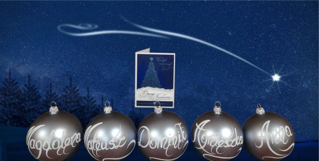 bombki choinkowe oraz kartka świąteczna otrzymane w prezencie od uczestników