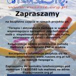 Plakat informacyjny o rozpoczynających się zajęciach rehabilitacji w wodzie